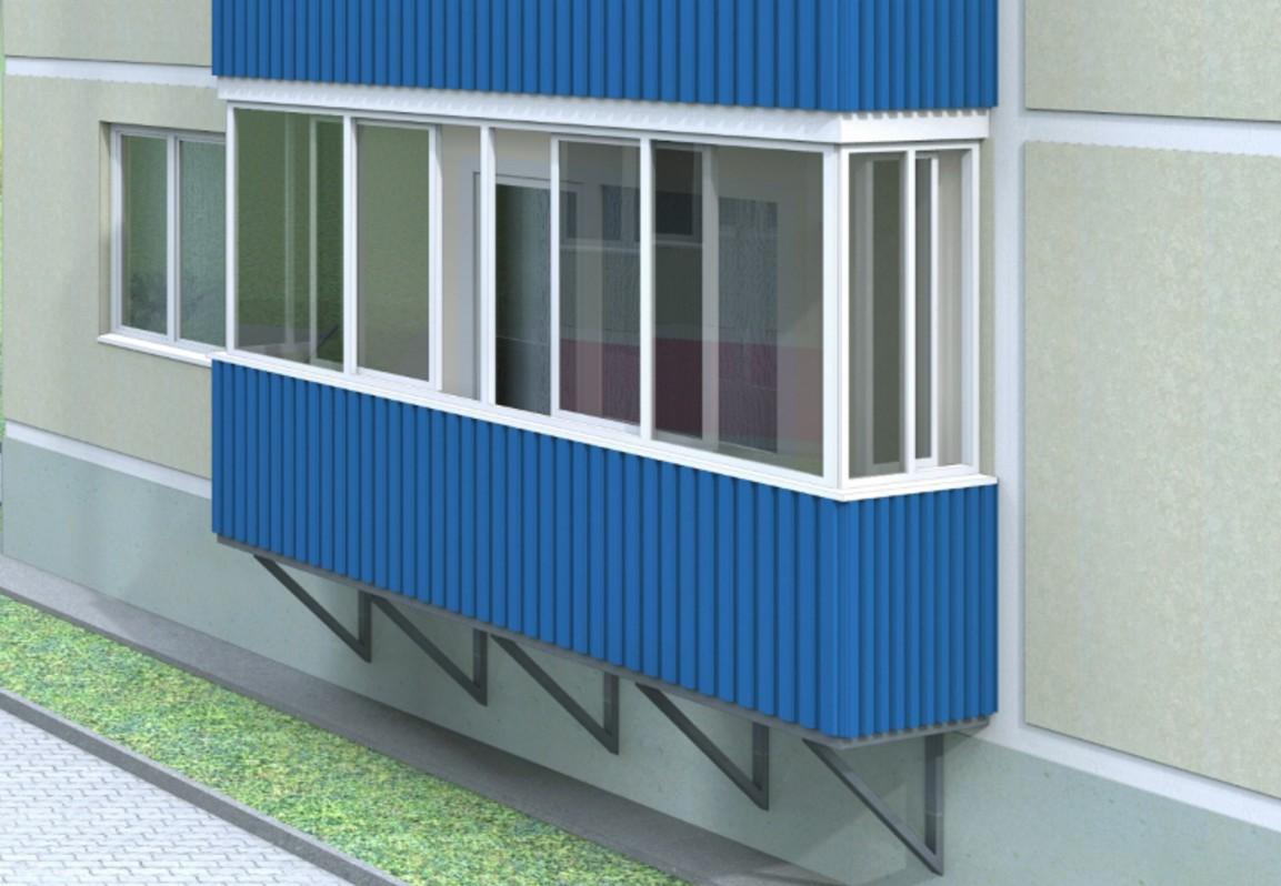 Обшивка балкона снаружи профнастилом.
