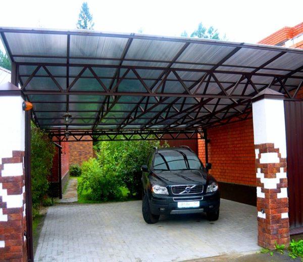 Как сделать навес из поликарбоната для авто
