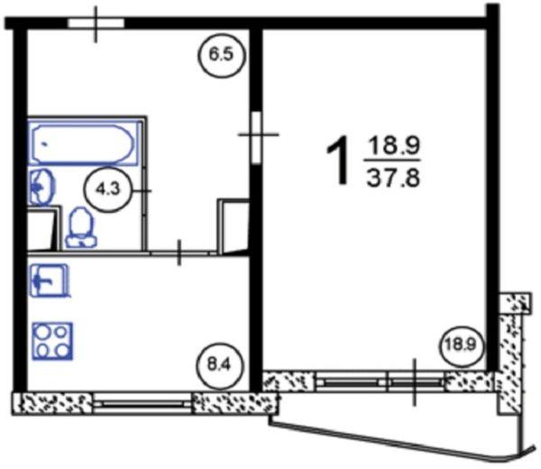 Однокомнатная квартира в доме П 44Т планировка с размерами