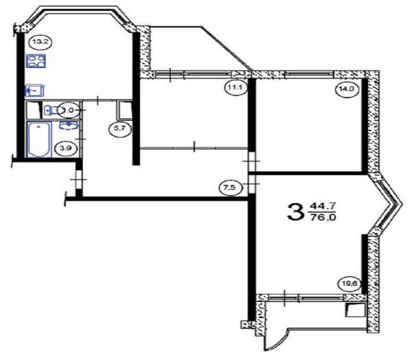 В доме П44Т планировка 3 комнатная