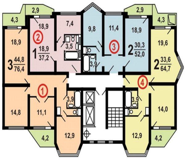 Серия П44Т планировки с размерами
