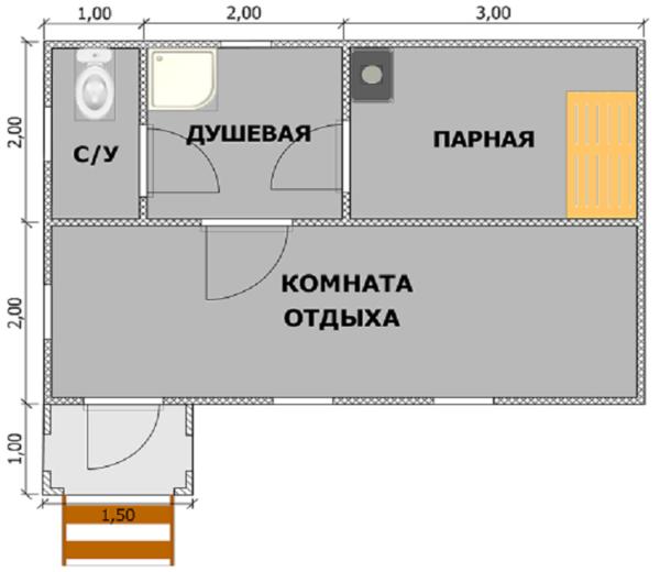 Планировки бань 6х4
