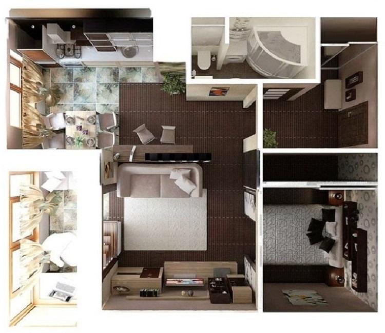 Дизайн хрущевки 1 комната, множественные советы по