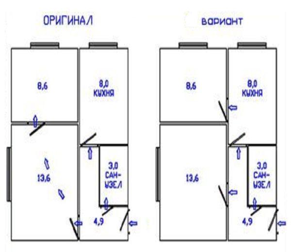Получено разрешение перепланировка квартиры c дверями
