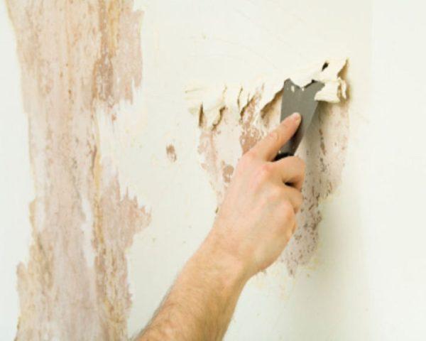 Очистка стен от побелки