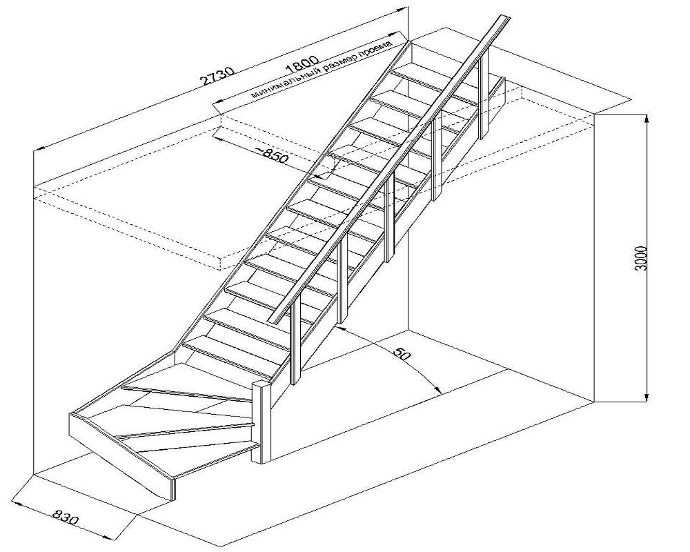 Лестница на мансарду своими руками схема 36