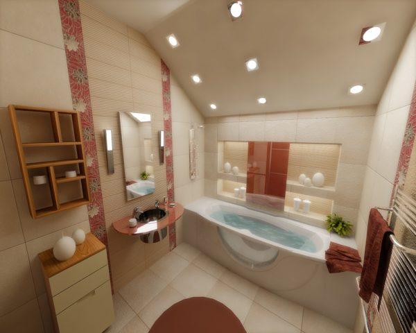 Ванна в мансарде дизайн