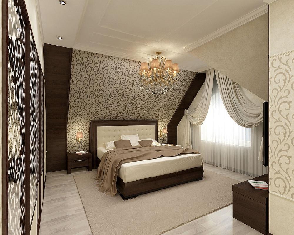 Дизайн мансардных спальни