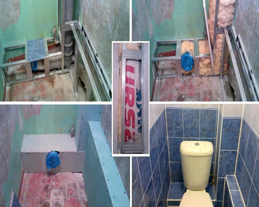 Спрятать трубы в туалете своими руками 60