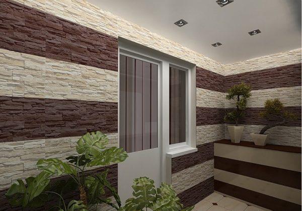 Отделка балкона дизайн под натуральный камень
