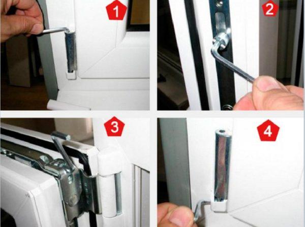 Регулировка пластиковых дверей балкона осуществляется с помощью специальных болтов которые крутят шестигранным ключом