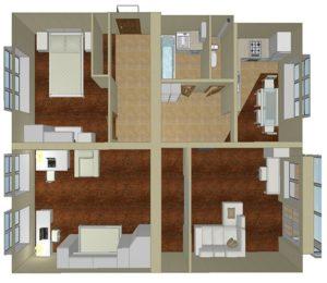 Перепланировка трехкомнатной и четырехкомнатной квартиры