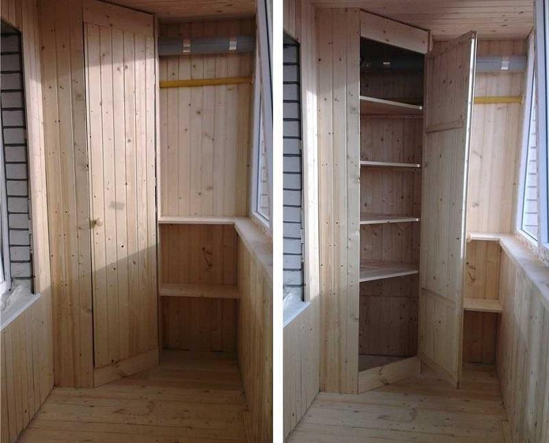 красном шкафчики из вагонки на балконе фото пород