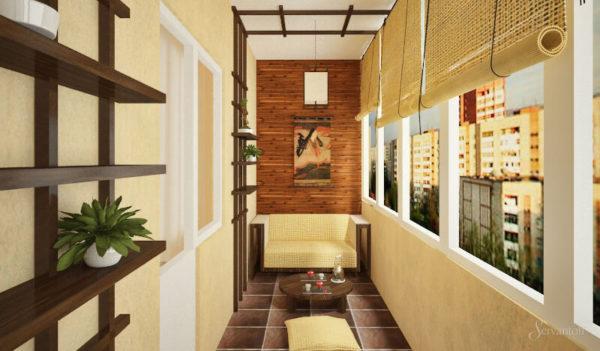 Японский дизайн штор на балкон фото